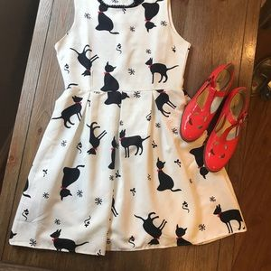 Modcloth Black and White Cat Dress